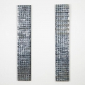 "Vokter 1 og 2 - <span class=""english"">guardian 1 and 2</span> - 30 x 170 cm, metal-discs / textile, photo: Eric Johannesen"